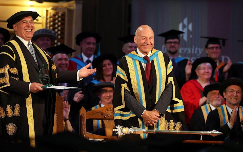 The Duke of York and Sir Patrick Stewart during the installation of the Duke as the new chancellor of the university in West Yorkshire in 2015 - Lynne Cameron/PA