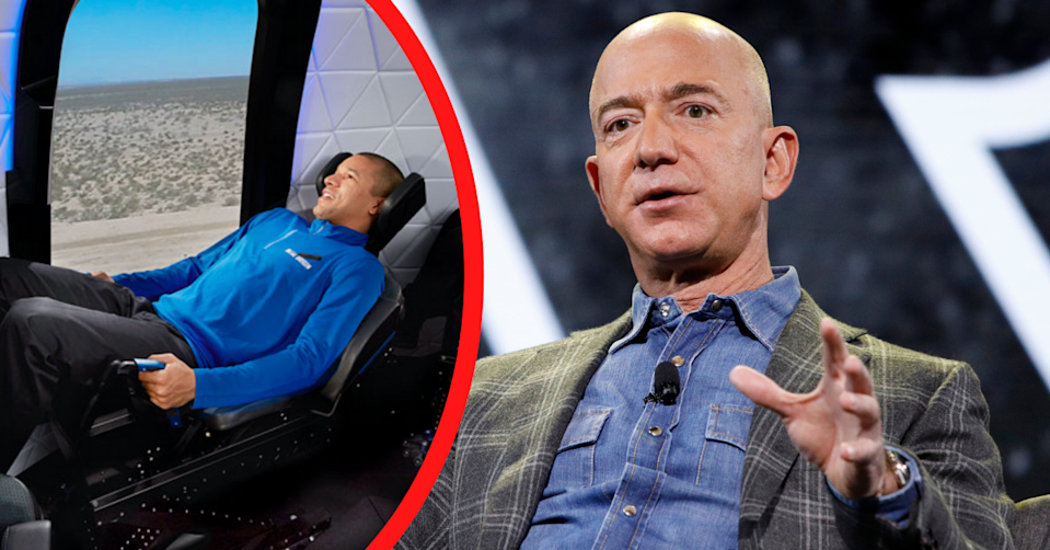 A man sits in a seat inside the Blue Origin space capsule. Jeff Bezos speaks at an event.