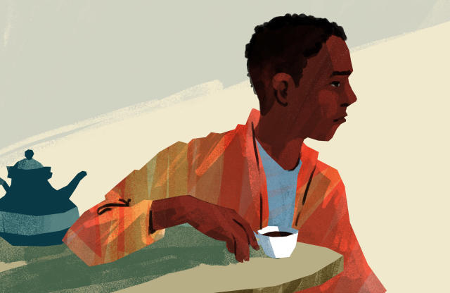 Abdi today, after escaping from the al-Shabab terrorist organization in Somalia. (Illustration by Noah MacMillan for Yahoo News)