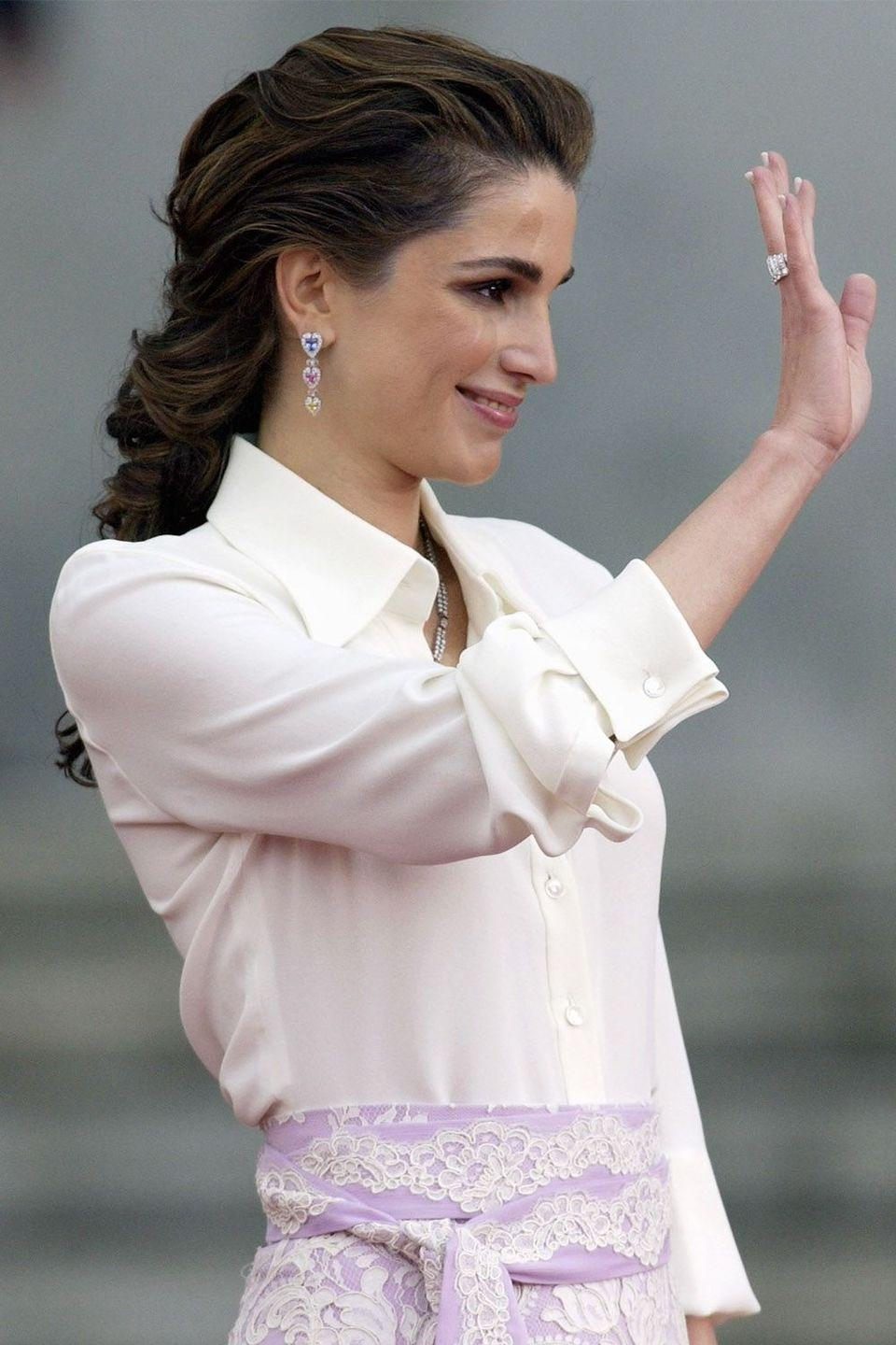 <p>Queen Rania's low and loose braid</p>