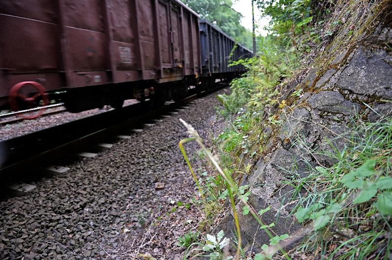 A train passes by the site where a Nazi gold train is believed to be hidden, in the city of Walbrzych, Poland, on August 28, 2015 (AFP Photo/Janek Skarzynski)