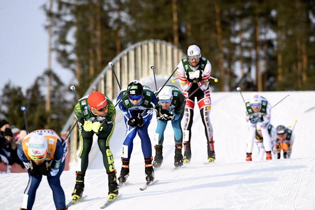 Lahti Ski Games - FIS Nordic Combined World Cup - Men's Gundersen - Lahti, Finland - March 4, 2018 - Akito Takanake of Japan, Johannes Rydzek of Germany, Eero Hirvonen of Finland, Francois Braud of France and Lukas Greidere of Austria compete. Lehtikuva/Markku Ulander/ via REUTERS ATTENTION EDITORS - THIS IMAGE WAS PROVIDED BY A THIRD PARTY. NO THIRD PARTY SALES. NOT FOR USE BY REUTERS THIRD PARTY DISTRIBUTORS. FINLAND OUT.