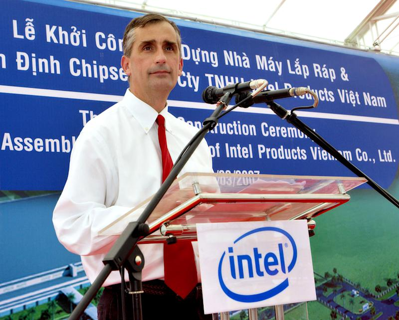 FILE - In this  Wednesday, March 28, 2007, file photo, Intel Corp. Vice President and General Manager of Assembly and Test Brian Krzanich makes his speech at the start of construction ceremony of the Assembly and Test Facility of Intel's chipset products at Saigon High Tech Park, Ho Chi Minh city, South Vietnam.  Intel said Thursday, May 2, 2013,  that it has chosen Krzanich, as its new CEO to steer the world's largest chipmaker in a world where PC sales are cratering while smartphones and tablets thrive.  (AP Photo/Le Quang Nhat)