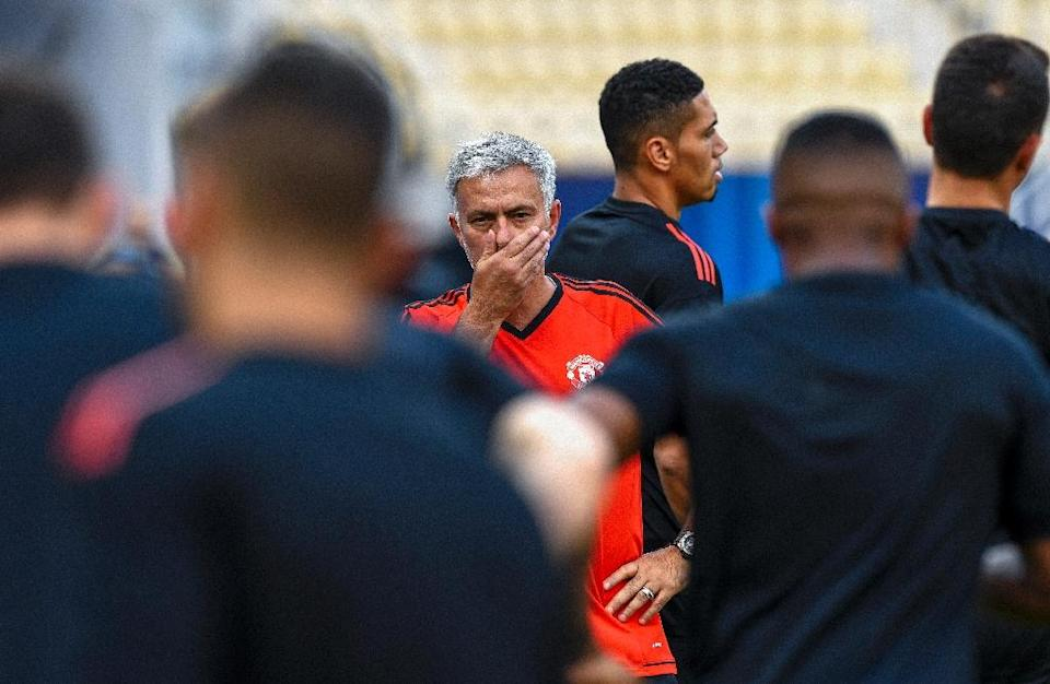 Manchester United's manager Jose Mourinho (C) oversees a training session in Skopje, Republic of Macedonia, on August 7, 2017 (AFP Photo/DIMITAR DILKOFF)