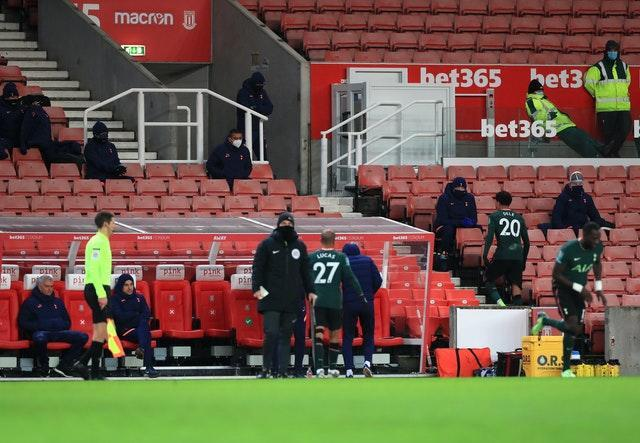 Dele Alli, right, trudges into the stand after being substituted