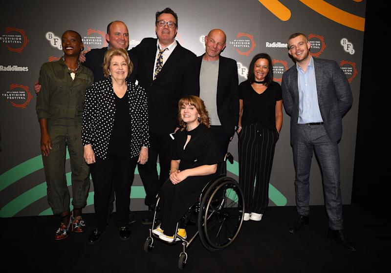 (left to right) T'nia Miller, Rory Kinnear, Anne Reid, Russell T Davies, Ruth Madeley, Simon Cellan Jones, Nicola Shindler and Russell Tovey at a photo call for Years and Years during the BFI and Radio Times Television Festival at the BFI Southbank, London. (Photo by Kirsty O'Connor/PA Images via Getty Images)