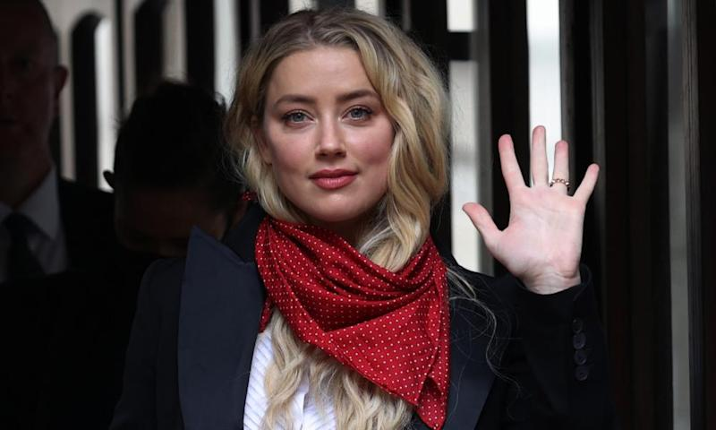Amber Heard arriving at the high court on Tuesday