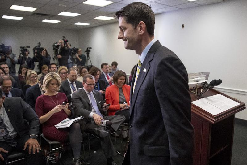House Speaker Paul Ryan of Wis. leaves a news conference following a GOP party conference at the Capitol, Wednesday, March 15, 2017, in Washington. (AP Photo/Andrew Harnik)