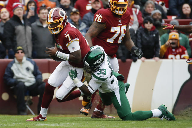 New York Jets strong safety Jamal Adams (33) sacks Washington Redskins quarterback Dwayne Haskins (7) in the first half of an NFL football game, Sunday, Nov. 17, 2019, in Landover, Md. (AP Photo/Alex Brandon)