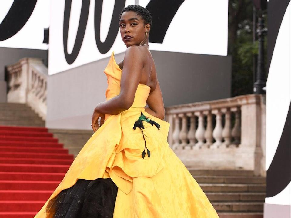 Lashana Lynch wearing Vivienne Westwood at the world premiere of No Time to Die in September 2021 (Getty Images for EON Productions)