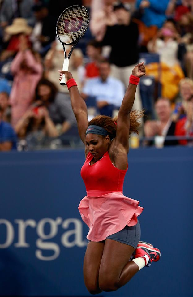 NEW YORK, NY - SEPTEMBER 08: Serena Williams of the United States celebrates winning her women's singles final match against Victoria Azarenka of Belarus on Day Fourteen of the 2013 US Open at the USTA Billie Jean King National Tennis Center on September 8, 2013 in New York City. (Photo by Chris Trotman/Getty Images for the USTA)