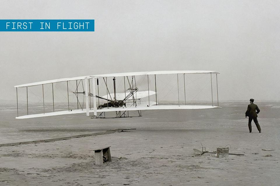 """<p>The machine that made the <a href=""""https://www.popularmechanics.com/flight/airlines/a30257679/first-flight-anniversary/"""" rel=""""nofollow noopener"""" target=""""_blank"""" data-ylk=""""slk:first successful flight"""" class=""""link rapid-noclick-resp"""">first successful flight</a> in a heavier-than-air powered aircraft may be the most important airplane of all time. But don't forget: the Wright Brothers <a href=""""https://www.popularmechanics.com/flight/interviews/a16288/david-mccullough-wright-brothers/"""" rel=""""nofollow noopener"""" target=""""_blank"""" data-ylk=""""slk:achieved an unprecedented level of airmanship—and marketing"""" class=""""link rapid-noclick-resp"""">achieved an unprecedented level of airmanship—and marketing</a>—that went far beyond those first few minutes aloft on the beaches of Kitty Hawk. </p><p>The Wrights' use of wing warping to achieve bank, in coordination with yaw from the rudder, allowed their craft to be properly controlled. This concept is still used on virtually every plane in the air today.</p><p>✈ <strong><a href=""""https://www.popularmechanics.com/technology/infrastructure/g2021/history-of-flying-car/"""" rel=""""nofollow noopener"""" target=""""_blank"""" data-ylk=""""slk:The Long, Weird History of the Flying Car"""" class=""""link rapid-noclick-resp"""">The Long, Weird History of the Flying Car</a></strong></p><p>Not satisfied with being first in flight, <a href=""""https://www.popularmechanics.com/flight/interviews/a16288/david-mccullough-wright-brothers/"""" rel=""""nofollow noopener"""" target=""""_blank"""" data-ylk=""""slk:the brothers"""" class=""""link rapid-noclick-resp"""">the brothers</a> spent many years unsuccessfully attempting to sell their invention, specifically to the U.S. and European governments as military vehicles. They went on a public tour instead, and nearly five years after their first flight, Wilbur Wright became world famous overnight after a <a href=""""http://airandspace.si.edu/exhibitions/wright-brothers/online/age/1908/europe.cfm"""" rel=""""nofollow noopener"""" target=""""_blank"""" data-ylk=""""slk:public showing"""" """
