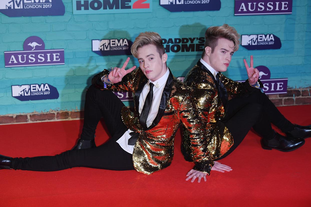 LONDON, ENGLAND - NOVEMBER 12:  Jedward attends the MTV EMAs 2017 held at The SSE Arena, Wembley on November 12, 2017 in London, England.  (Photo by Venturelli/WireImage)