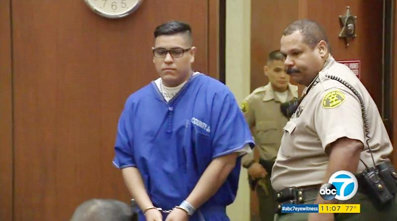 This frame from video provided by KABC-TV shows Andrew Garcia, 21, entering court where he was sentenced to life in prison without parole for beating to death Xinran Ji, a University of Southern California graduate student from China, in Los Angeles Superior Court Wednesday, Aug. 16, 2017. Songbo Ji, father of slain student Xinran Ji, not shown, sobbed as he spoke about the loss of his son in a victim impact statement at the sentencing of Garcia, one of five assailants in the 2014 murder. (KABC-TV via AP)