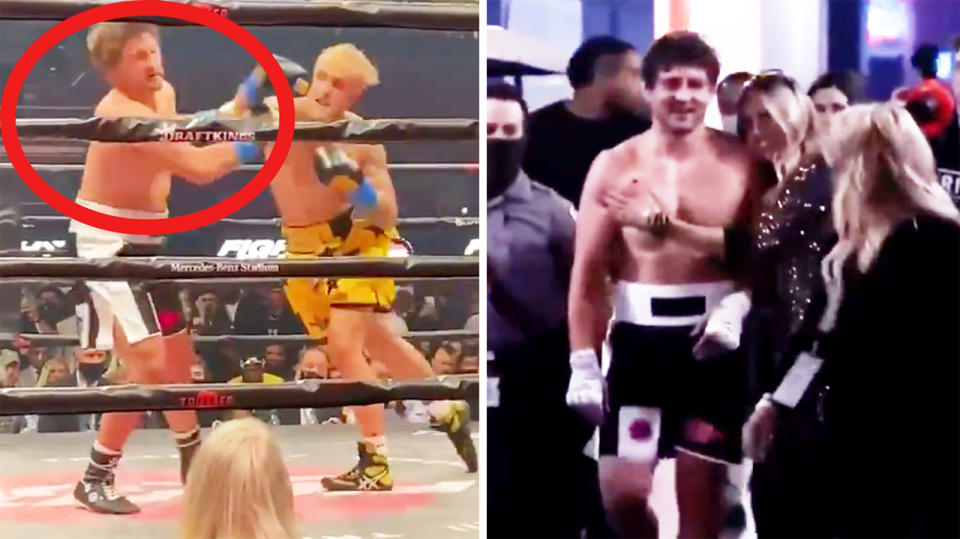 Jake Paul (pictured left) knocking out Ben Askren and Askren smiling with his wife (pictured right) after the fight.