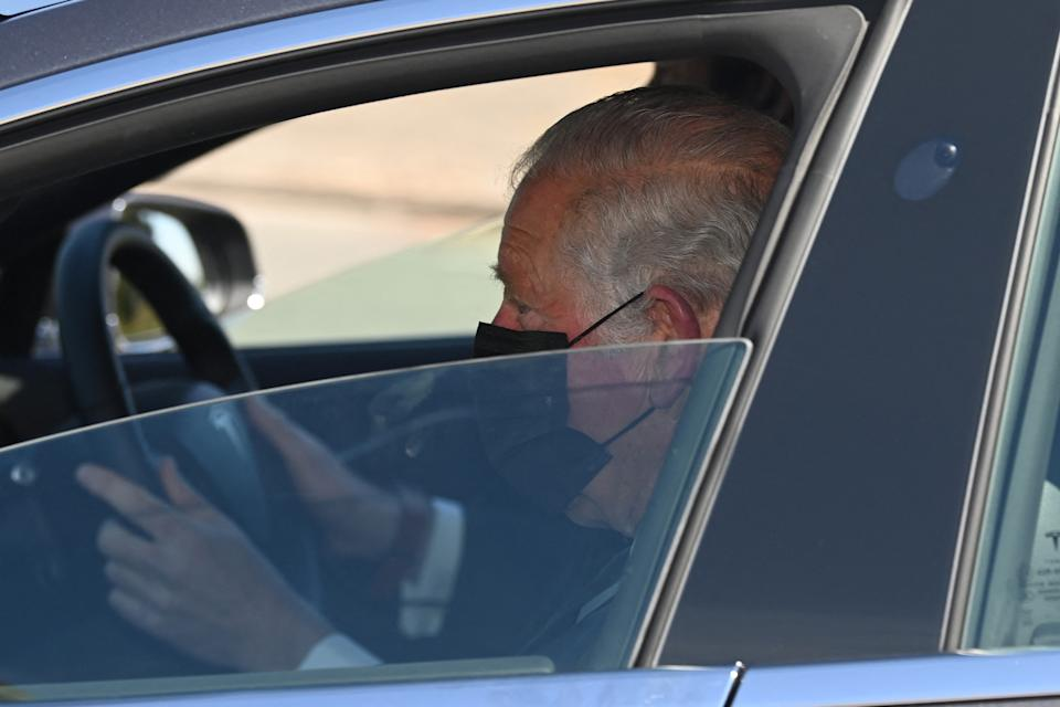 <p>The Prince of Wales was driven into Windsor Castle for the funeral of his father, who died on April 9. (Getty)</p>