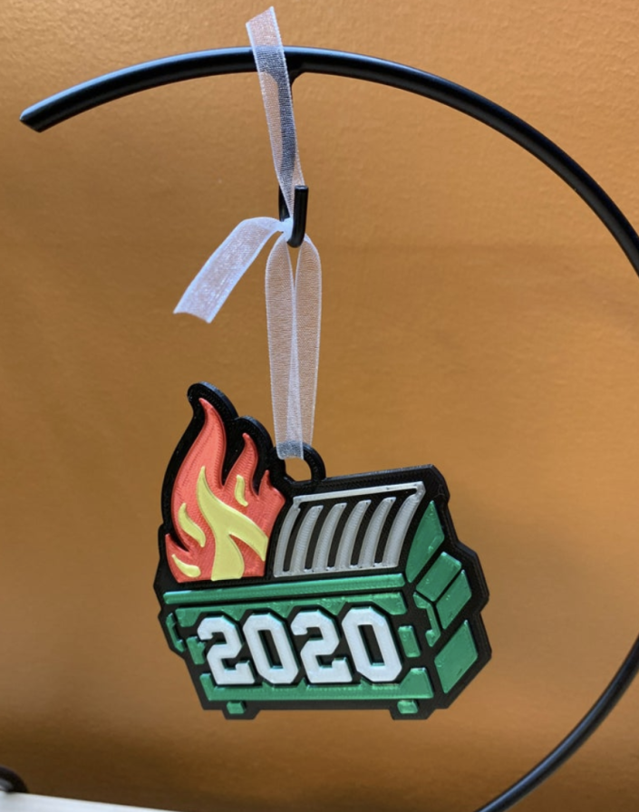 Etsy has summed up 2020 with this flaming dumpster fire ornament. (Photo: Etsy/Dittys3DDesigns)