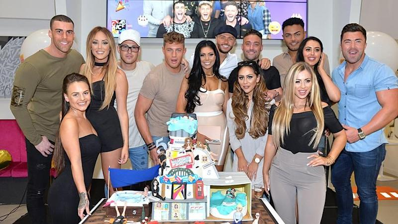 Charlotte and Gaz with their Geordie Shore cast, Source: Getty