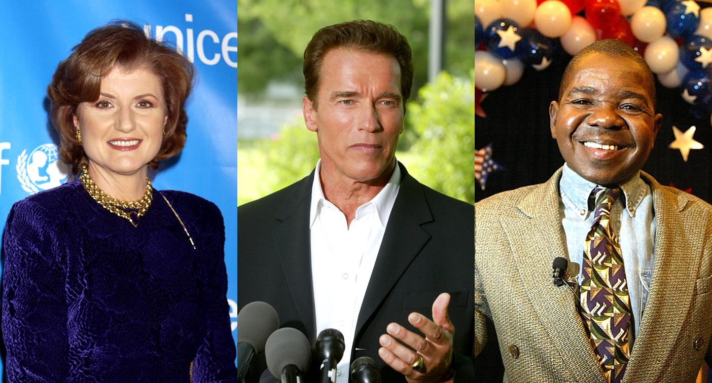 Arianna Huffington, Arnold Schwarzenegger, and Gary Coleman were three of the candidates for California governor in 2003. (Photo: Getty Images)