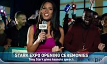 <p>Before she became an actress (and Psylocke in <em>X-Men: Apocalypse</em>) Munn was a web presenter and she appeared as red carpet reporter Chess Roberts in <em>Iron Man 2</em>. </p>