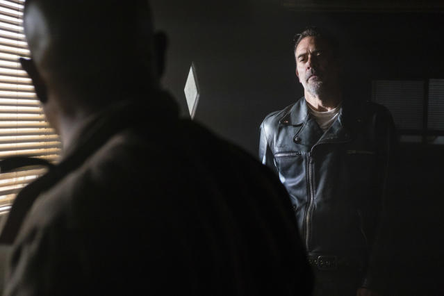<p>Jeffrey Dean Morgan as Negan and Seth Gilliam as Father Gabriel Stokes in AMC's <i>The Walking Dead</i>.<br>(Photo: Gene Page/AMC) </p>