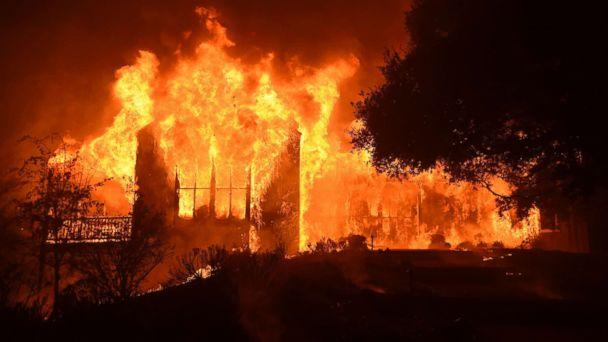 PHOTO: The main building at Paras Vineyards burns in the Mount Veeder area of Napa in California Oct. 10, 2017. (Josh Edelson/AFP/Getty Images)