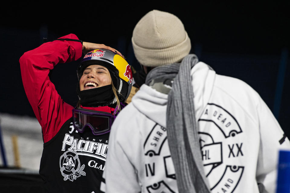 CORRECTS TO THE ASPEN TIMES, NOT THE ASPEN DAILY NEWS - Winter X Games rookie Eileen Gu celebrates after her last run during the women's finals at the 2021 Winter X Games Aspen on Friday, Jan. 29, 2021, in Aspen, Colo. Gu took home the gold in her first superpipe final. (Kelsey Brunner/The Aspen Times via AP)