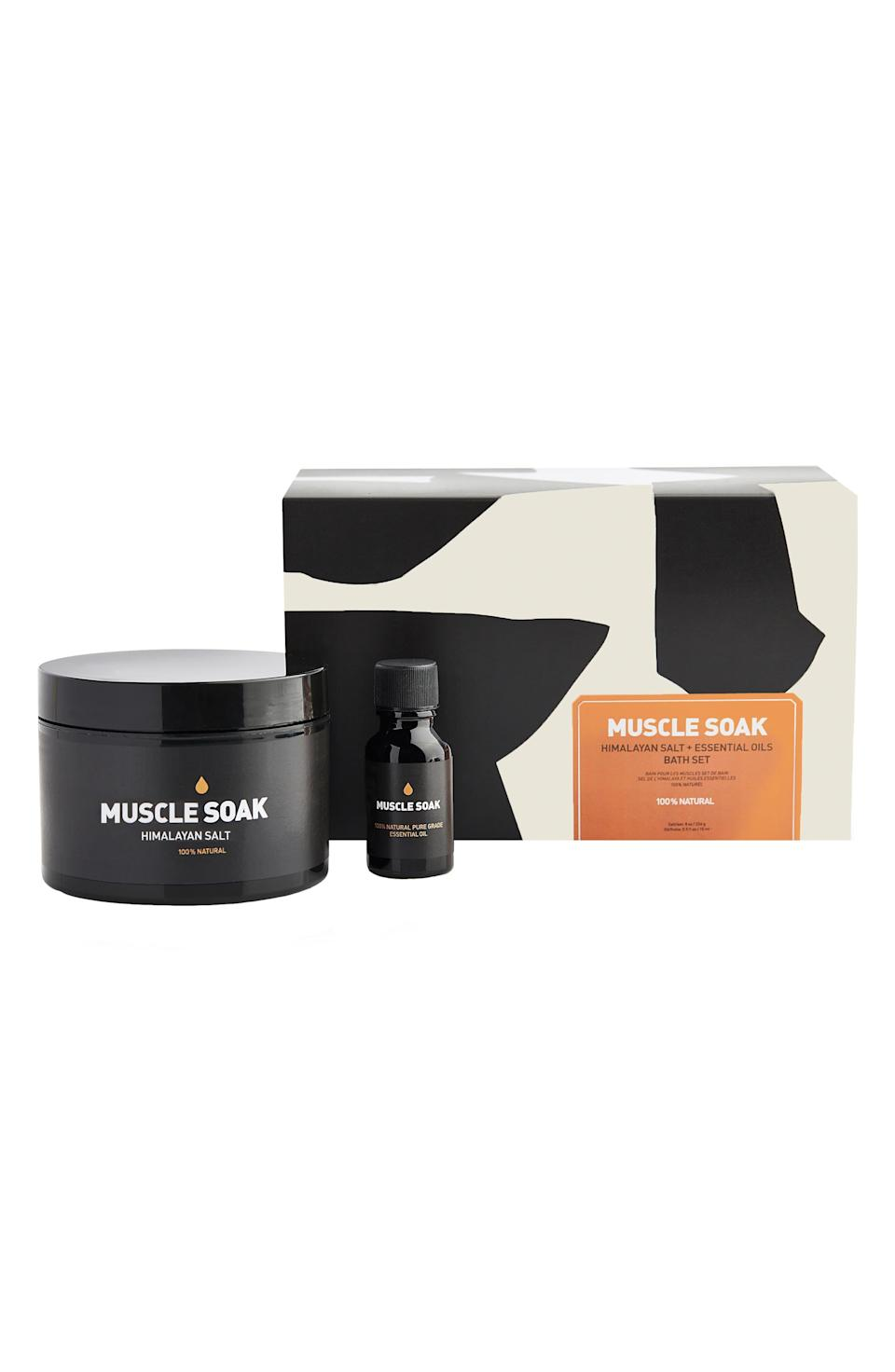 """<h3><strong>Way Of Will</strong> Muscle Soak Bath Set</h3><br><br>When you start hearing your dad's knees crack every time he stands up, it's time to get him this two-piece set for relieving minor aches and pains.<br><br><strong>Way Of Will</strong> Muscle Soak Bath Set, $, available at <a href=""""https://go.skimresources.com/?id=30283X879131&url=https%3A%2F%2Fshop.nordstrom.com%2Fs%2Fway-of-will-muscle-soak-bath-set%2F5302109%3Forigin%3Dcategory-personalizedsort%26breadcrumb%3DHome%252FMen%252FGrooming%2520%2526%2520Cologne%252FGifts%2520%2526%2520Sets%26color%3Dnone"""" rel=""""nofollow noopener"""" target=""""_blank"""" data-ylk=""""slk:Nordstrom"""" class=""""link rapid-noclick-resp"""">Nordstrom</a>"""