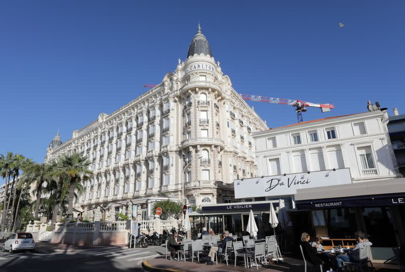 The closed windows of the Carlton Hotel in Cannes