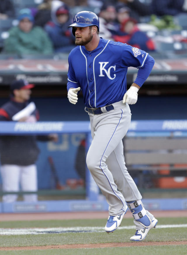 Kansas City Royals' Lucas Duda runs the bases after hitting a solo homer off Cleveland Indians starting pitcher Trevor Bauer in the seventh inning of a baseball game, Saturday, April 7, 2018, in Cleveland. (AP Photo/Tony Dejak)