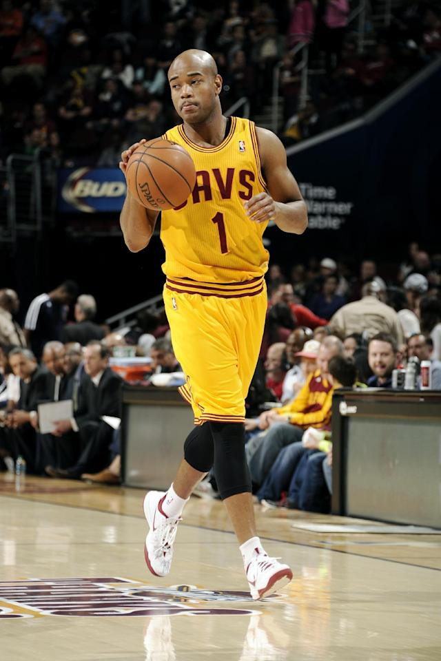 CLEVELAND, OH - APRIL 16: Jarrett Jack #1 of the Cleveland Cavaliers drives against the Brooklyn Nets at The Quicken Loans Arena on April 16, 2014 in Cleveland, Ohio. (Photo by David Liam Kyle/NBAE via Getty Images)