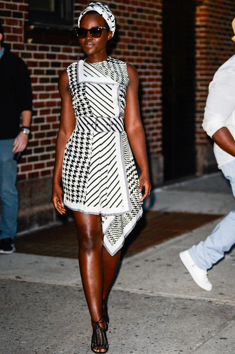 Lupita Nyong'o in Monse leaving The Late Show with Stephen Colbert, September 2016.