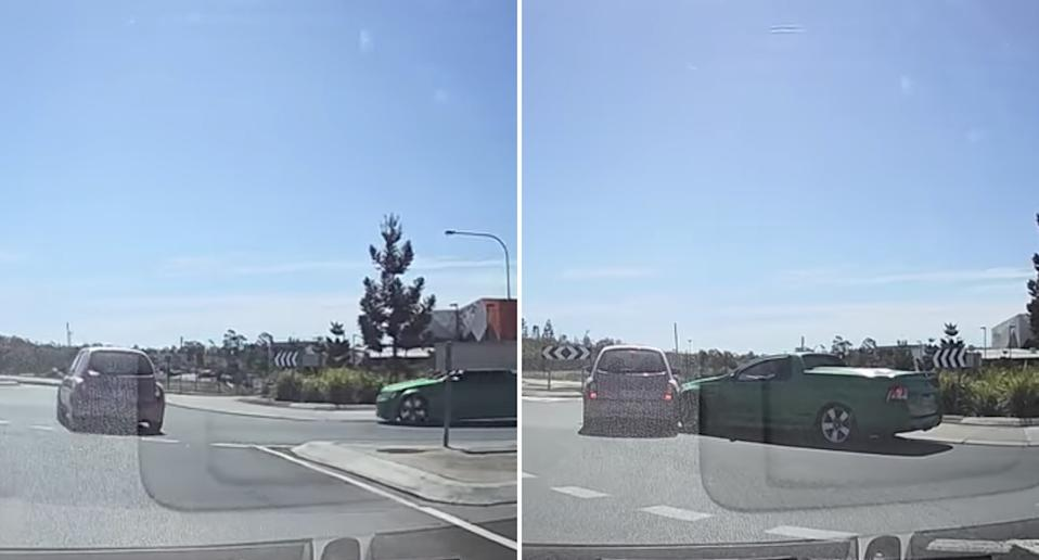 A Holden ute crashes into a Nissan Micra in a roundabout at Springfield Central.