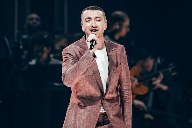 SHEFFIELD, ENGLAND - MARCH 20: Sam Smith performs live on stage at Sheffield Arena on March 20, 2018 in Sheffield, England. (Photo by Joseph Okpako/WireImage)
