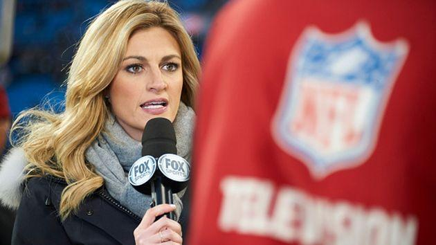 Andrews in her role as a sportscaster. Image: Getty