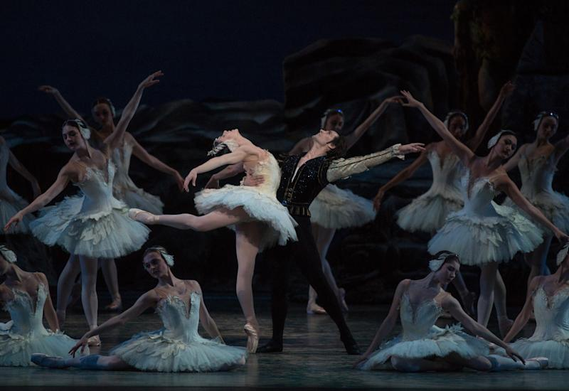 "In this June 28, 2012 photo provided by American Ballet Theatre, Angel Corella, right, performs with Paloma Herrera in the American Ballet Theatre's ""Swan Lake"" at the Metropolitan Opera House in New York. (AP Photo/American Ballet Theatre, Rosalie O'Connor)"