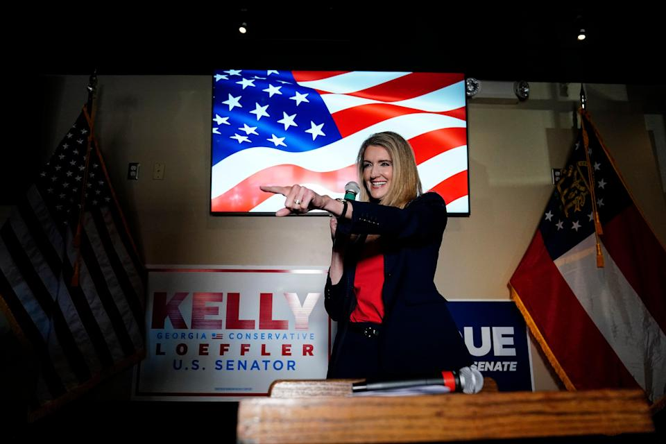 <p>Republican senator Kelly Loeffler is fighting a tough run-off in Georgia</p> (Copyright 2020 The Associated Press. All rights reserved.)