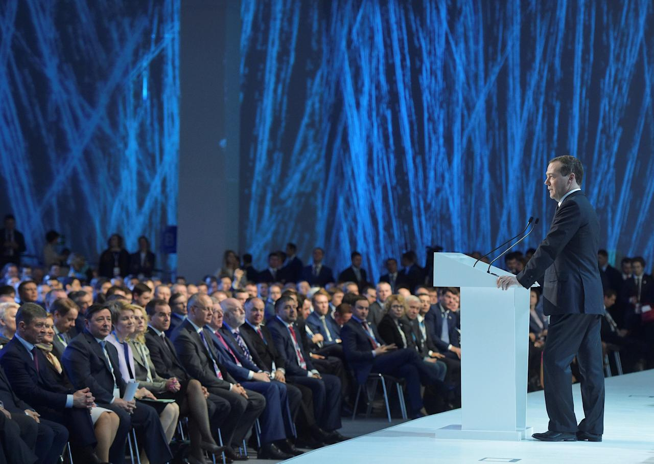 Russia's Prime Minister Dmitry Medvedev addresses the audience during the Russian investment forum in Sochi, Russia, February 27, 2017. Sputnik/Alexander Astafyev/Pool via REUTERS ATTENTION EDITORS - THIS IMAGE WAS PROVIDED BY A THIRD PARTY. EDITORIAL USE ONLY.