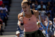 Maria Sakkari, of Greece, reacts after scoring a point against Petra Kvitova, of the Czech Republic, during the third round of the US Open tennis championships, Saturday, Sept. 4, 2021, in New York. (AP Photo/John Minchillo)