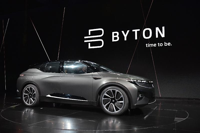 The Byton connected car, which uses facial recognition and a personalized interface, is seen during its launch at the 2018 Consumer Electronics Show (AFP Photo/MANDEL NGAN)