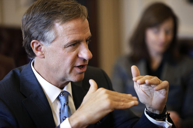 FILE -- This March 27, 2013, file photo shows Tennessee Gov. Bill Haslam during a news conference in Nashville, Tenn. A third employee of the truck stop chain owned by Bill Haslam and his brother, Jimmy Haslam, owner of the Cleveland Browns, pleaded guilty Tuesday, June 18, 2013, in what authorities call a scheme to cheat trucking firms out of rebates. (AP Photo/Mark Humphrey, File)
