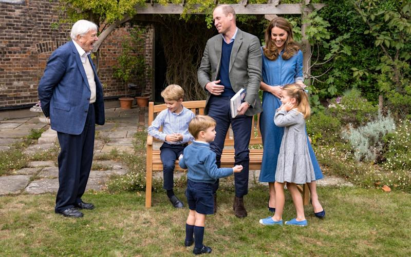 The Duke and Duchess of Cambridge, Prince George, Princess Charlotte and Prince Louis with Sir David Attenborough - Kensington Palace