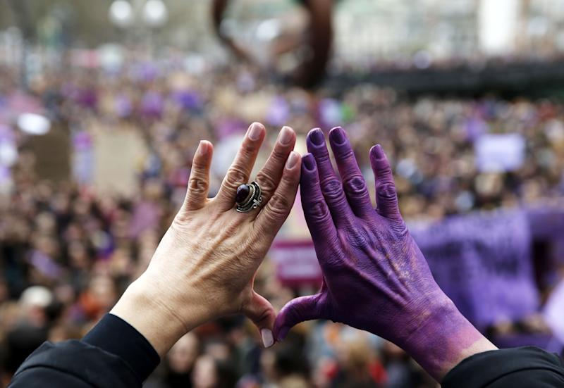 Thousands of people take part in a rally on the occasion of the International Women's Day in Bilbao, northern Spain, March 8. 2019. (Photo: Luis Tejido/EPA-EFE/REX/Shutterstock)