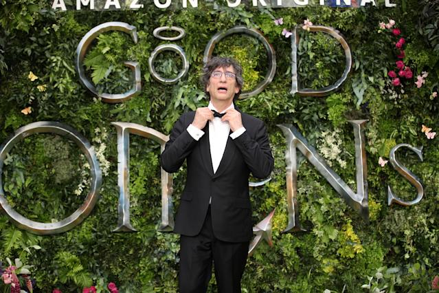 """Neil Gaiman attends the Global premiere of Amazon Original """"Good Omens"""" at Odeon Luxe Leicester Square on May 28, 2019. (Photo by Mike Marsland/WireImage)"""