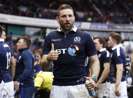 Scotland's John Barclay celebrates after the game