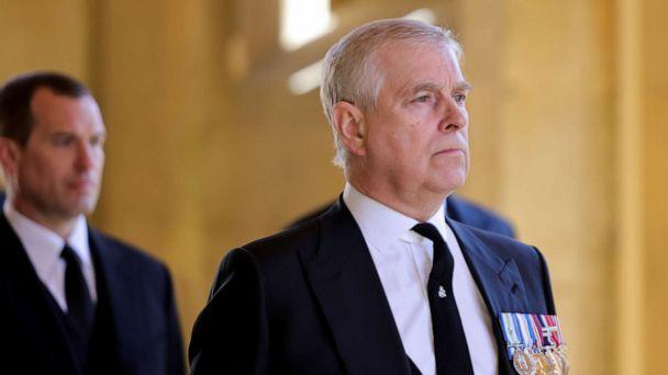 FILE PHOTO: Britain's Britain's Prince Andrew, Duke of York, looks on during the funeral of Britain's Prince Philip, husband of Queen Elizabeth, who died at the age of 99, on the grounds of Windsor Castle in Windsor, Britain, April 17, 2021. (Chris Jackson/Pool via Reuters, FILE)
