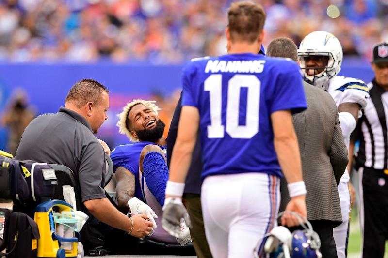 New york giants beckham faces nfl season ending ankle op odell beckham jr of the new york giants is taken off the field after sustaining m4hsunfo
