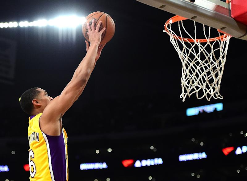 """The Los Angeles Lakers Jordan Clarkson (R) has been fined $15,000 for elbowing, using his """"forearm above the shoulders"""""""