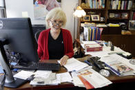 """FILE - """"60 Minutes"""" correspondent Lesley Stahl, poses for a photo in her office at the """"60 Minutes"""" offices, in New York on Sept. 12, 2017. CBS' pioneering newsmagazine is consistently one of the most-watched programs on television and its viewership is up 9 percent over last year, the Nielsen company said. That's not only more than any other prime-time program on ABC, CBS, NBC and Fox, it's also one of only four on those networks to show a year-to-year increase. (AP Photo/Richard Drew, File)"""