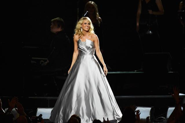 LOS ANGELES, CA - FEBRUARY 10: Recording artist Carrie Underwood performs onstage at the 55th Annual GRAMMY Awards at Staples Center on February 10, 2013 in Los Angeles, California. (Photo by Kevork Djansezian/Getty Images)